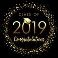 Class of 2019 graduation poster with gold glitter confetti