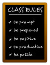 Class rules defining strict to be obeyed Royalty Free Stock Photo