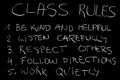 Class rules important chalk on blackboard Royalty Free Stock Photo
