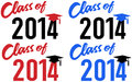 Class of school graduation date celebration announcement caps in red and blue colors Stock Photo
