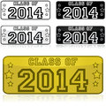 Class of stickers shaped like license plates with the words Royalty Free Stock Image