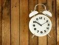 Classic Alarm Clock On Wooden