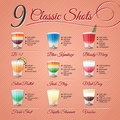 Classic alcohol shots set nine popular recipes and illustrations on vintage background Royalty Free Stock Photos