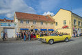 Classic american cars the picture is shot at the fish market in halden norway Royalty Free Stock Image