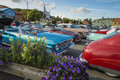 Classic american cars the picture is shot at the fish market in halden norway Stock Images