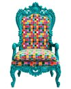 Classic baroque armchair in pop art style isolated on white background
