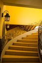 Classic bent staircase a fine example of colonial architecture Royalty Free Stock Image