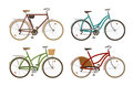 Classic bike, set icons. Retro bicycle, cycle, transport. Cartoon vector illustration