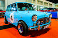 Classic blue mini bangkok june on display at bangkok international auto salon exciting modified car show on june in bangkok Stock Photo