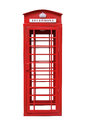 Classic British Red Phone Booth isolated on white Royalty Free Stock Photo
