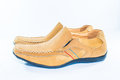Classic brown leather shoes isolated Royalty Free Stock Photo