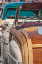 Classic car beautiful convertible interior view at show Stock Photography