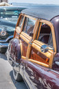 Classic car beautiful convertible interior view at show Stock Images