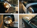 Classic car collage and retro detail, colorful soft and blur concept