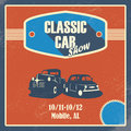 Classic Car Show Poster. Old Retro Automobile