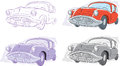 Classic car stylized drawing of an older Royalty Free Stock Images