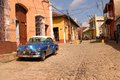 Classic car in trinidad cuba february a old fashioned parked along a cobblestone street on february Stock Image