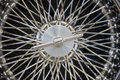 Classic car wheel highly polished chrome spoked with centre hub Stock Image