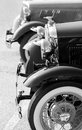 Classic cars black white photo of oldtimer show Stock Images
