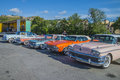 Classic cars lined up the picture is shot at the fish market in halden norway Stock Photography