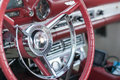 Classic cars steering wheel on display during car show Royalty Free Stock Photography