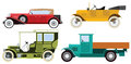 Classic cars vector illustration of colorful historical collesction Stock Image