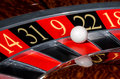 Classic casino roulette wheel with red sector nine and white ball and sectors Royalty Free Stock Photo