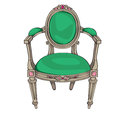 Classic chair colored doodle hand drawn illustration of an antique furniture piece with green upholstery and oval ornaments Stock Photo