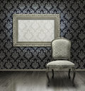 Classic chair and silver frame Royalty Free Stock Photo