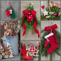Classic christmas decoration country style with red green wood and jute on a collage for a greeting card Royalty Free Stock Photography