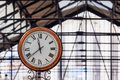 Classic clock in an english underground station Royalty Free Stock Photos