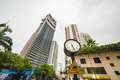 Classic Clock tower is standing in the street of Luxury residential area of Bangkok Royalty Free Stock Photo