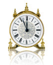 Classic clock twelve white background Royalty Free Stock Image