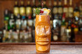 Classic cocktail mai tai, space for text Royalty Free Stock Photo