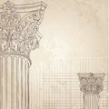 Classic columns background. Roman corinthian column. Il Royalty Free Stock Photo