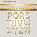 Classic Diamond Jewelry Alphabet Vector Royalty Free Stock Photo