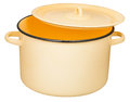 Classic enamel stockpot with slightly ajar cover Royalty Free Stock Photo