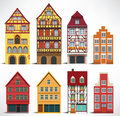 Classic european houses vector illustration of historical Stock Photos