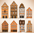 Classic european houses vector illustration of historical Stock Images