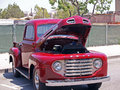 Classic f truck this is a nicely restored with a custom maroon paint job and chrome grill Royalty Free Stock Photo