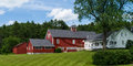 Classic Farm House and Barn Stock Photo