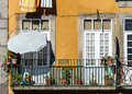 Classic fasade of old house in portugal street view Stock Images