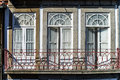 Classic fasade of old house in portugal street view Stock Photos
