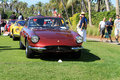 Classic ferrari sports cars lined up front view burgundy gt ahead of yellow dino gt by and pininfarina car at cavallino concorso Royalty Free Stock Image