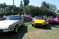 Classic ferrari sports cars lined up multiple at outdoors event around crowd Royalty Free Stock Photos