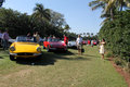 Classic ferrari sports cars lined up multiple at outdoors event around crowd Royalty Free Stock Photography
