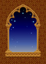 Classic frame in form of gothic decorative window with starry ni Royalty Free Stock Photo