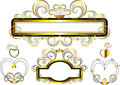 Classic frames decorated with gold stars and curve Royalty Free Stock Photos