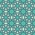 Classic geometry art deco patterns in trendy green color. Symmetric floral motif. Repeatable decorative vector background tile in Royalty Free Stock Photo