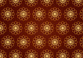 Classic gold flower pattern on blown color background retro and line art chocolate spirograph style for vintage design Stock Image
